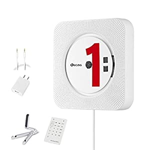 KECAG CDプレーヤー壁掛け式家庭用ステレオ音楽システム、リモコンFMラジオブルートゥース、ハイビジョンスピーカー内蔵、USB読み取れ、MP3 (白い)