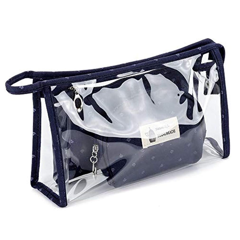 処分した消す重くするGlorwefy 化粧ポーチ 化粧品収納バッグ ハンドバッグ メークバッグ ポーチ 化粧品袋 収納ポーチ  レディース  小物入れ  PVC 綿布 透明 収納 化粧 旅行 出張 便利 人気 オシャレ 3点セット ダークブルー