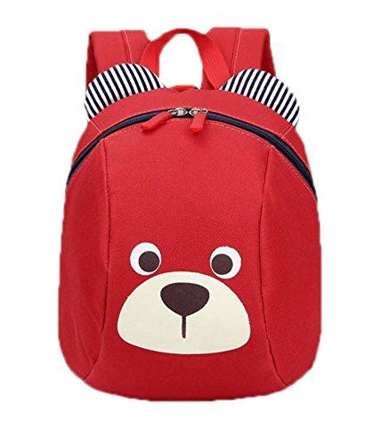 skyflyings かわいいクマのバックパックオックスフォードベイビーボーイズガールズスクールバッグ (赤)