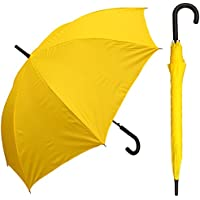 "RainStoppers W032TH Auto Open European Hook Handle Arc Umbrella, Yellow, 48"""