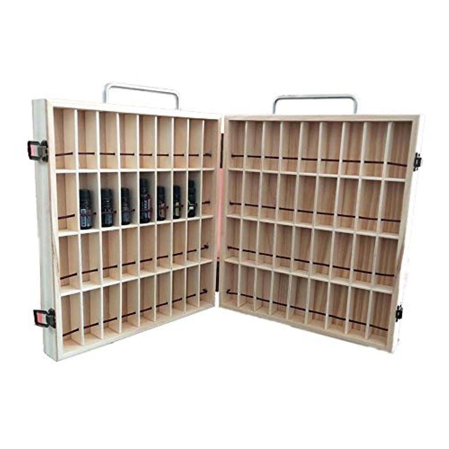 無駄だ日焼けベッド2キャリー付きエッセンシャルオイルストレージボックスオーガナイザーは木製オイルケースホルダーをハンドル アロマセラピー製品 (色 : Natural, サイズ : 34.5X30.5X8CM)