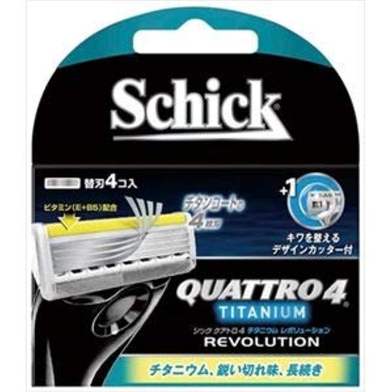 練習したやりすぎいう(まとめ)シック(Schick) クアトロ4チタニウムレボリューション替刃(4コ入) 【×3点セット】