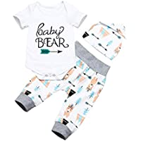 Hipealy Newborn Baby Boys Clothes Infant Baby Bear Long Sleeve Bear Print Pants Outfit Sets + Hat 9-12months