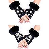 Women's Fingerless Gloves Winter Warm Knit Hand Crochet Thumbhole Arm Warmers Mittens