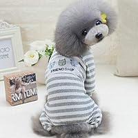FidgetGear カジュアル小型犬猫ペット子犬服ベストアパレルコートセーターパジャマXS〜XXL 3#犬服グレーS
