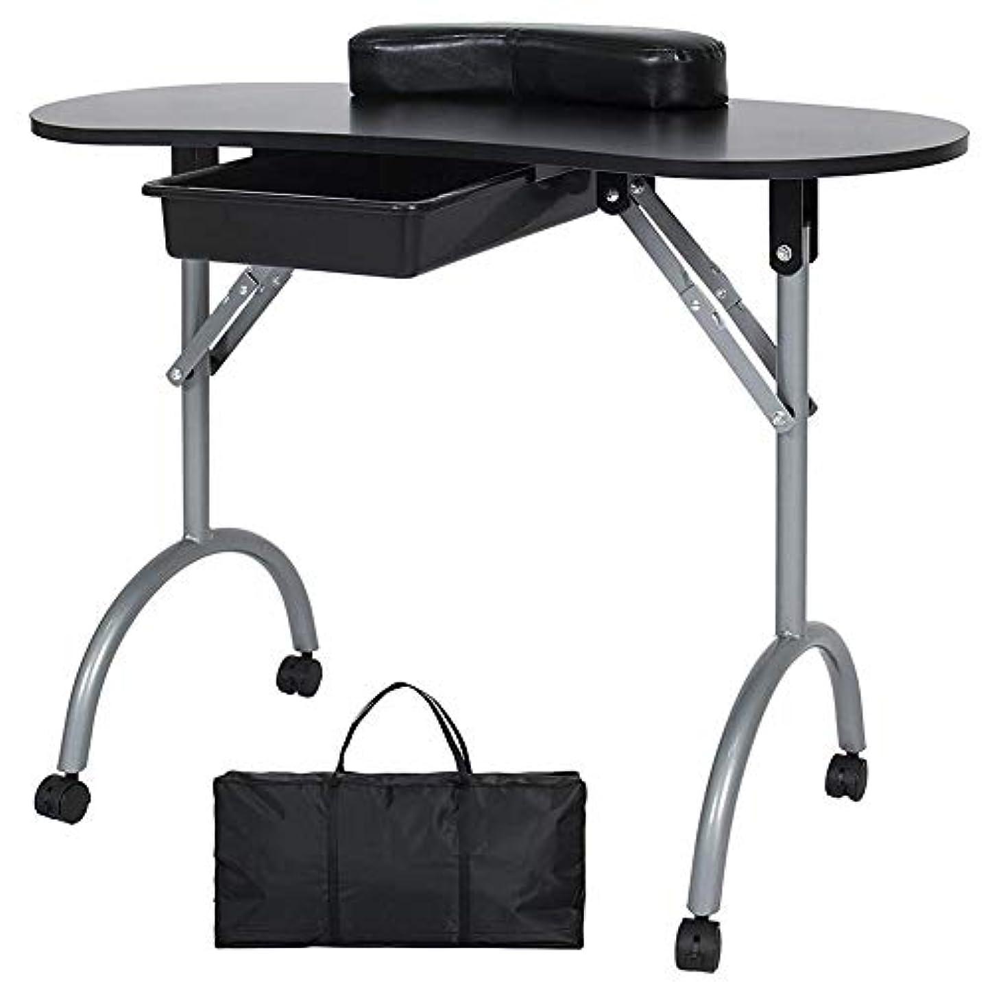 ホイールシガレットまっすぐにするFMEZYネイルテーブルマニキュアテーブル製品ポータブルマニキュア折りたたみデスクワークステーション付きキャリングバッグ