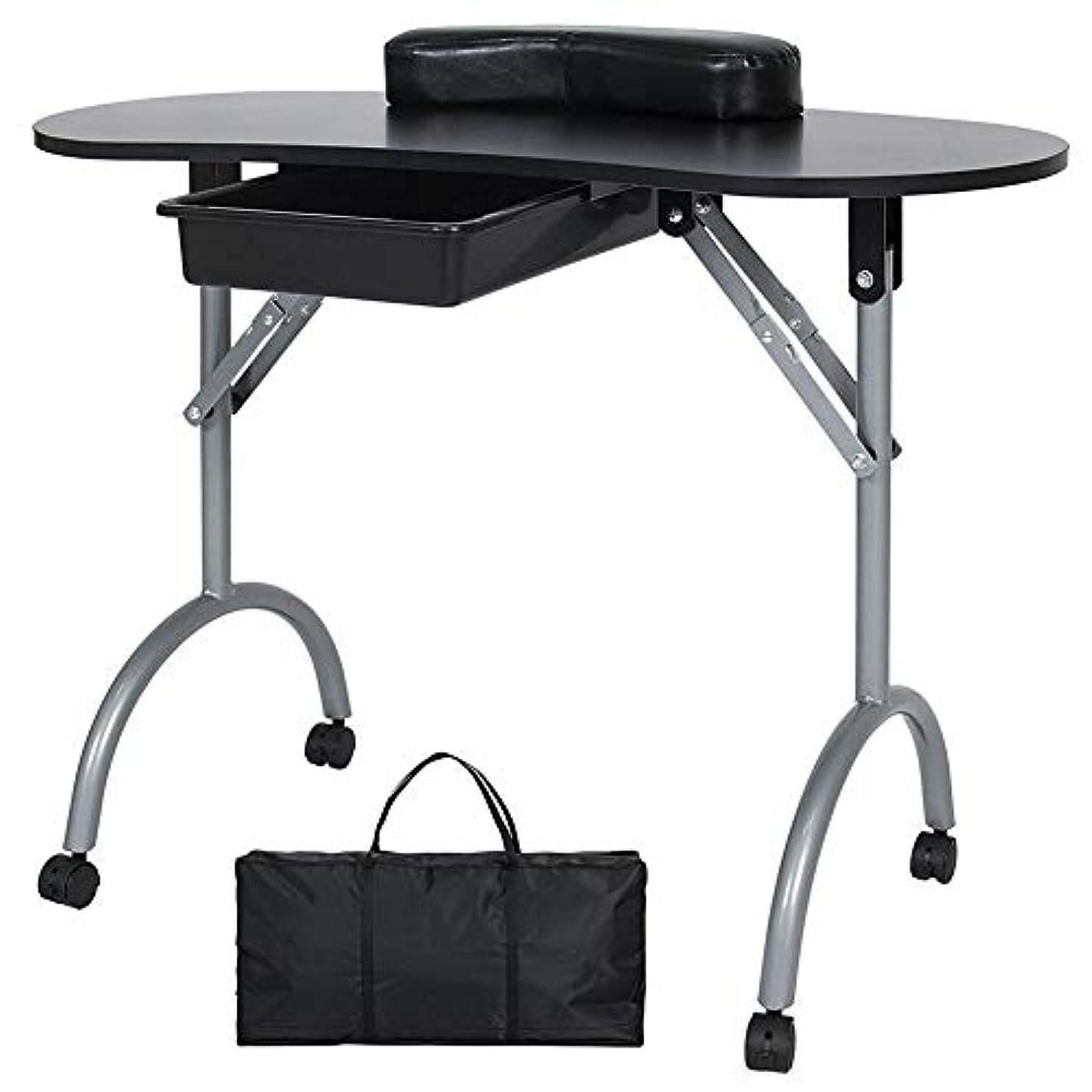 単にベアリング薬を飲むFMEZYネイルテーブルマニキュアテーブル製品ポータブルマニキュア折りたたみデスクワークステーション付きキャリングバッグ
