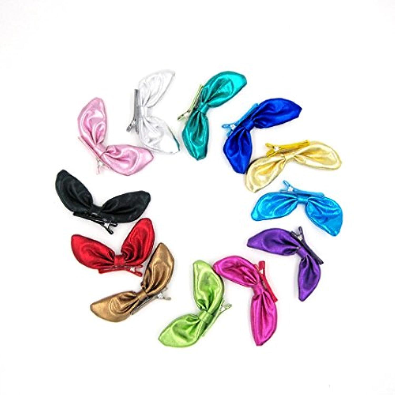 vibola 12pcsリボンノット子供ガールズバレッタウサギ耳アクセサリーHeadwear
