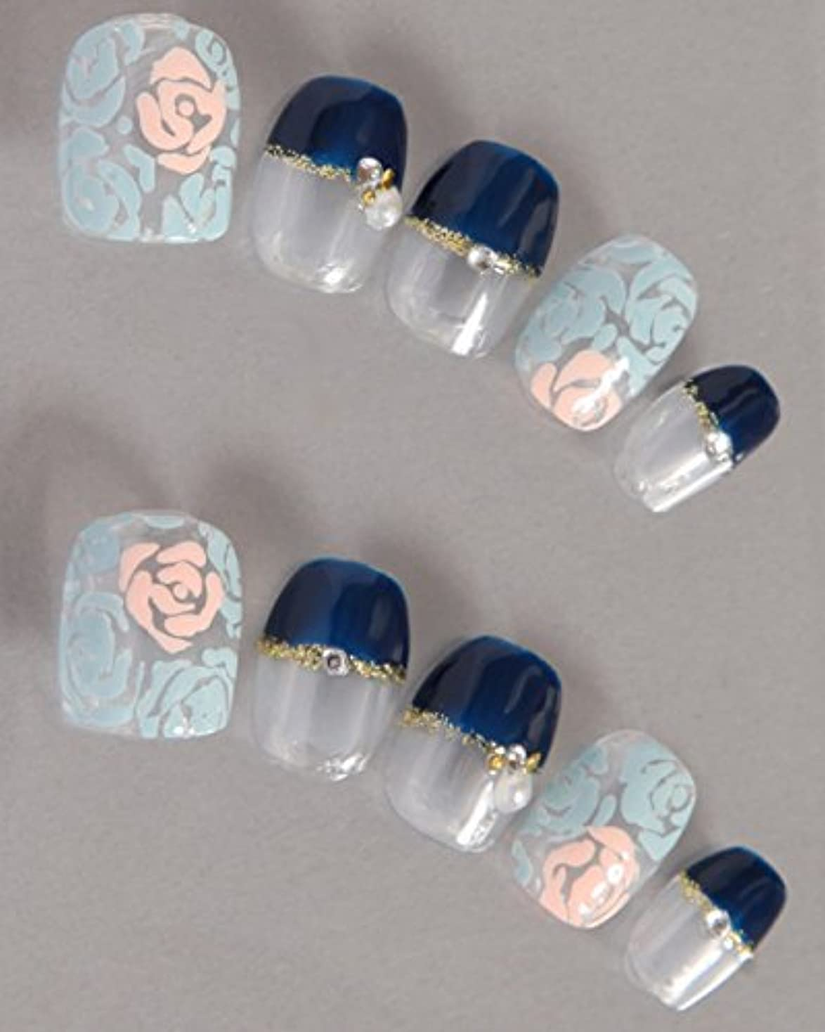 薬剤師まぶしさチョークゆずネイル ネイルチップ 濃ブルー フレンチ バラ ガーリー クール(A12004-Q-C)