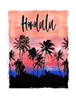 Honolulu: Oahu Hawaiian Christmas Notebook With Lined Wide Ruled Paper For Taking Notes. Stylish Tropical Travel Journal Diary 8.5 x 11 Inch Soft Cover. For Home, Work Or School.