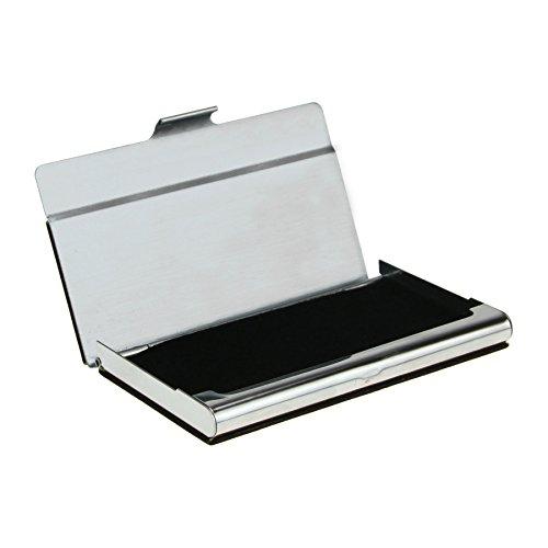 FakeFace シンプルカードケース 名刺ホルダーお洒落 スタイリッシュ名刺ボックス 薄型 ステンレス素材で折れることなくカードをしっかり守れる ビジネス用品 ユニ ブラック