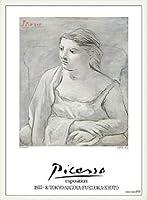 ポスター パブロ ピカソ Femme dans un Fauteuil 額装品 ウッドベーシックフレーム(ホワイト)