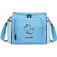 Javababy かわいい マザーズバッグ トートバッグ 大容量 ママバッグ 軽量 おむつ替えシート付 ベビー用品収納 サイ(ブルー)