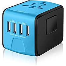 SAUNORCH Universal Travel Adapter,International Travel Power Adapter W/High Speed 4X 2.4A USB Wall Charger, European Adapter, Worldwide AC Outlet Plugs Adapters for Europe, UK, US, AU, Asia-Blue