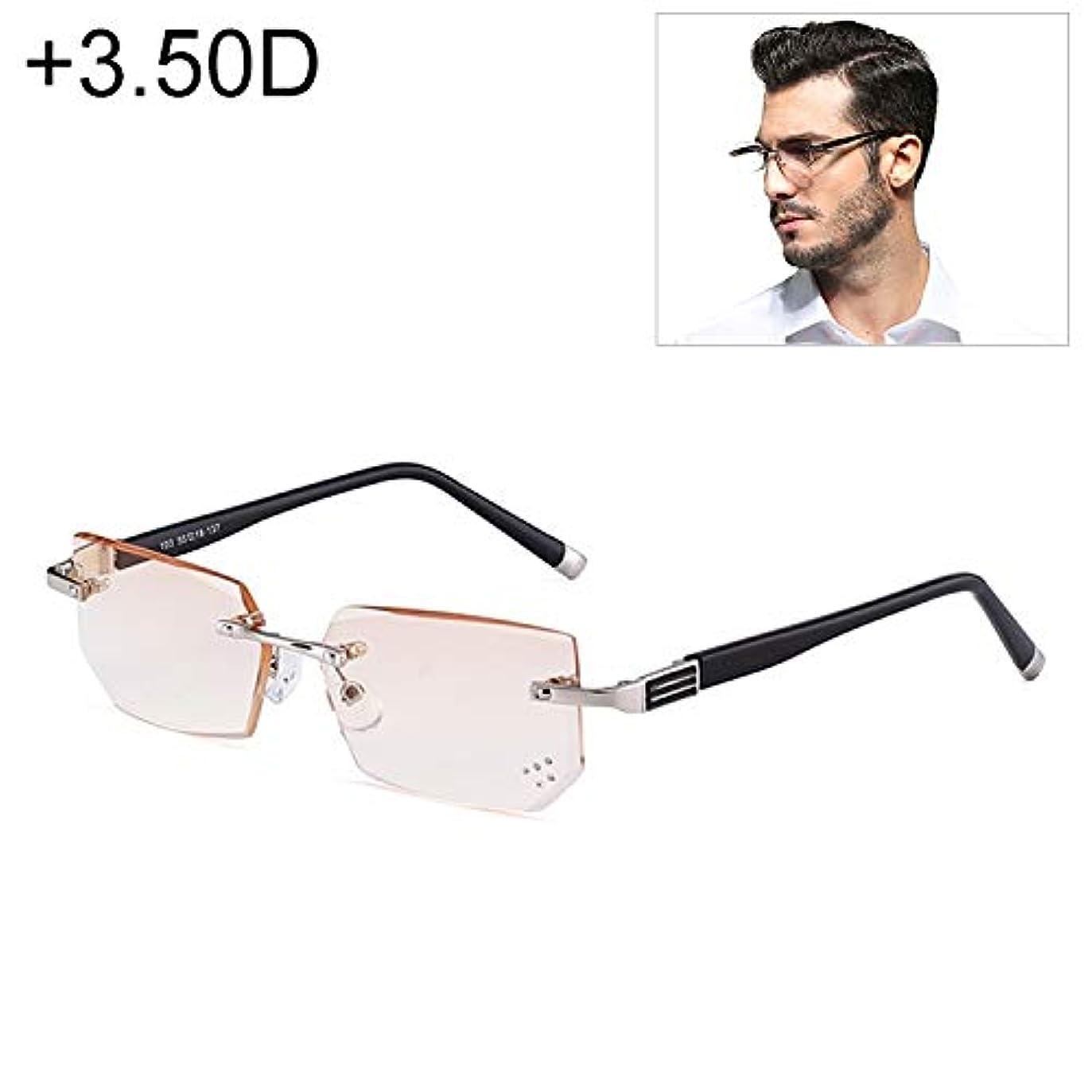 効能ある排出通行人XIEWEI メンズアンチ疲労&ブルーレイリムレスラインストーントリム老視メガネ、+ 3.50DYANG