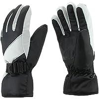 AKNONRE スキーグローブ スキー手袋 スノーボードグローブ 防水 着心地抜群  紛失防止 防寒対策 耐磨耗 灰+黒