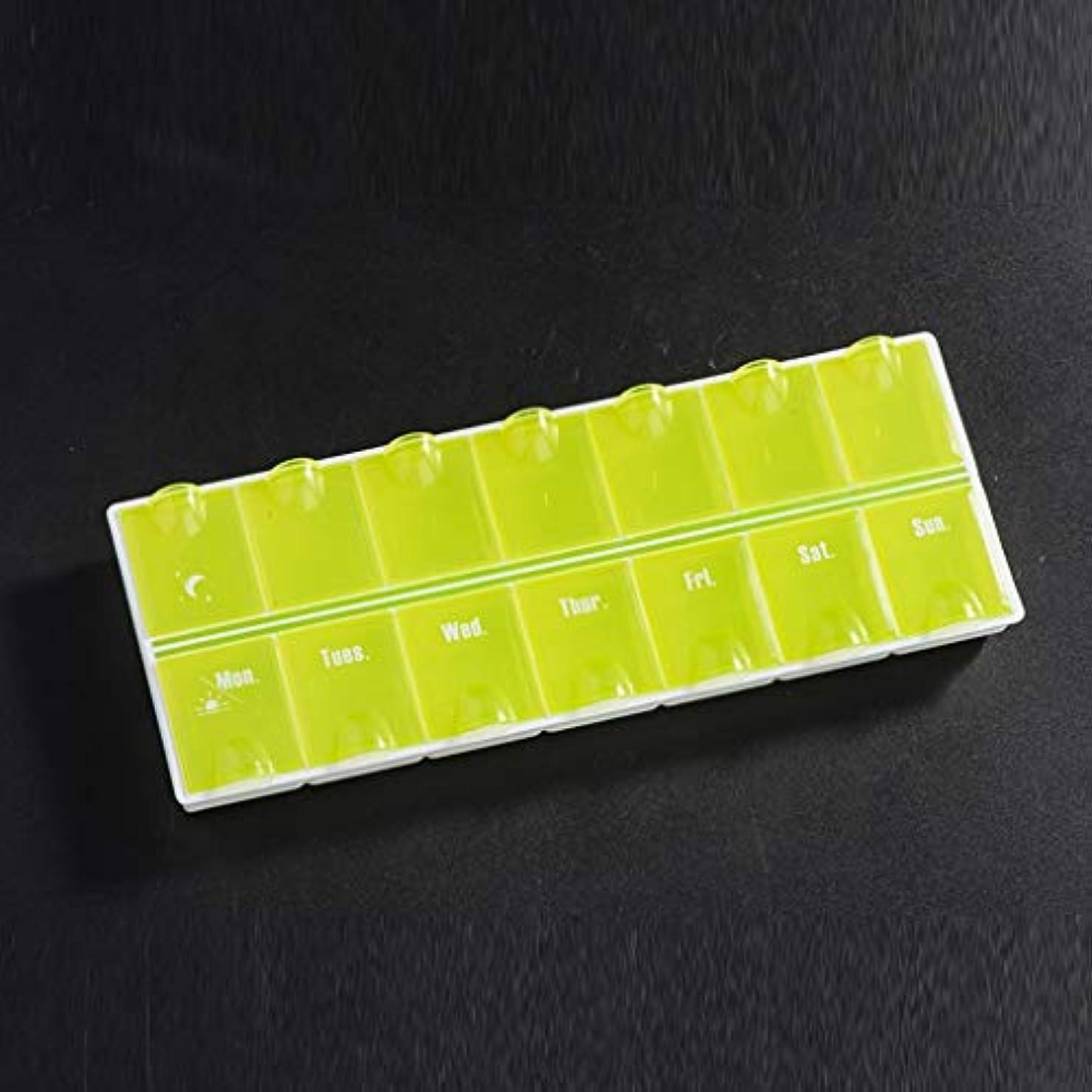 ラフ頑丈渦家庭用薬毎週薬箱大容量を毎日7日間調剤朝、中、晩、28、家庭薬保管箱 薬箱 (Color : Green, Size : 21.5cm×8.1cm×2.1cm)