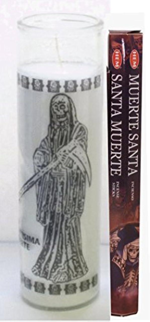 サンタMuerte Candle with 20 Sticksのお香インド製Includes Incense Burner Santa Muerte Veladora INCLUYE Incienso
