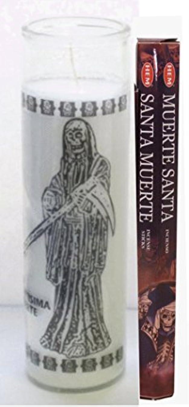 脅迫法律醸造所サンタMuerte Candle with 20 Sticksのお香インド製Includes Incense Burner Santa Muerte Veladora INCLUYE Incienso