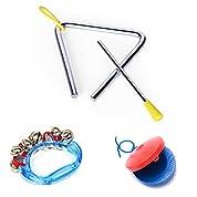 教育 遊戯 楽器 3点 セット ( トライアングル + カスタネット + ハンドベル ) 子供 知育 玩具