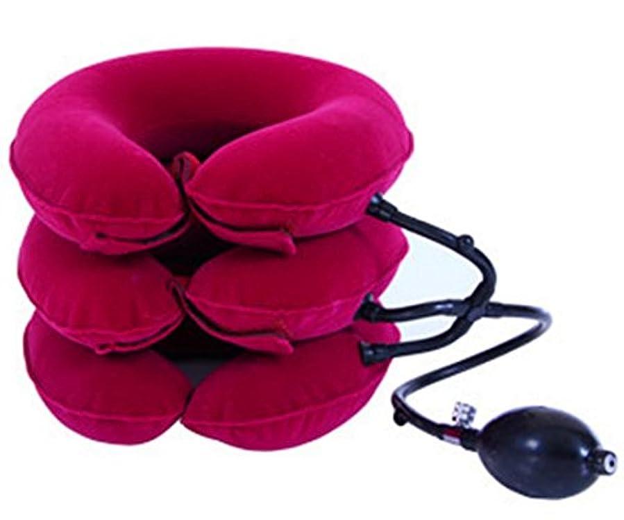 故国孤独な無視hiport(ハイポート) 家庭用 ネックストレッチャー トリプルポンプ式 和の三色 紅色