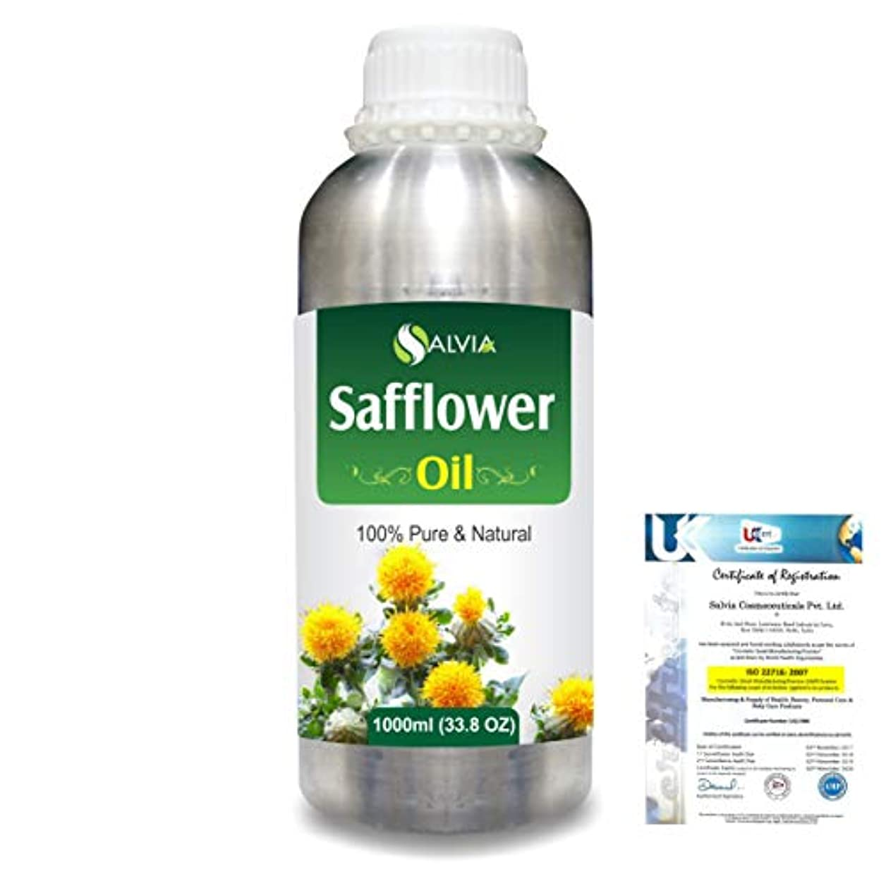 前投薬ボトルネックドアミラーSafflower (Carthamus tinctorius) Natural Pure Undiluted Uncut Carrier Oil 1000ml/33.8 fl.oz.