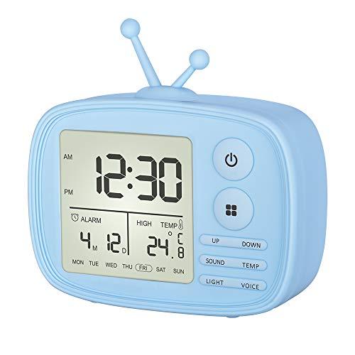 Ninonly 目覚まし時計 置き時計 卓上時計 音声感知 室温表示 USB充電式 2種類LEDライト 5種類アラームのベル 設定記憶 省エネ 日本語取扱説明書付き(ブルー)