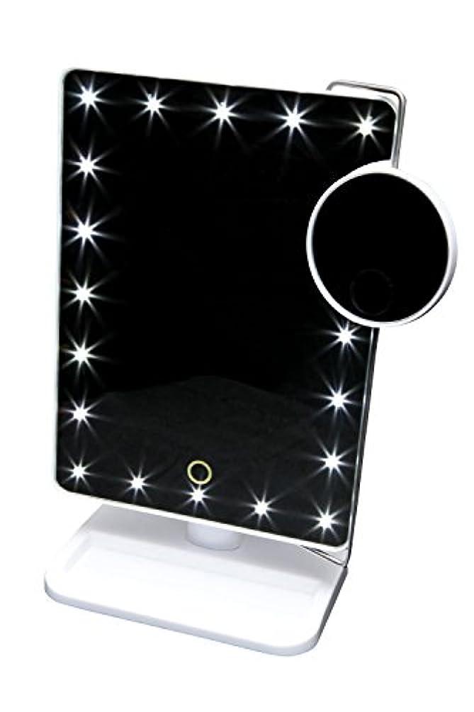 参照均等に偽善タッチパネルで明るさ調節可能! LED20個 + 10倍拡大鏡付スタンドミラー 【お姫様ミラー KTL800XT】ホワイト