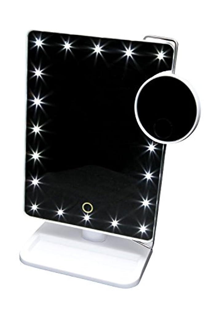 アベニュー財産四回タッチパネルで明るさ調節可能! LED20個 + 10倍拡大鏡付スタンドミラー 【お姫様ミラー KTL800XT】ホワイト