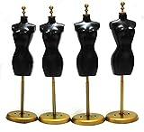 ドール トルソー 25cm 4個 1/6 マネキン ミニチュア 人形 洋服 黒 ゴールド 金 ディスプレイ ドレス ブラック
