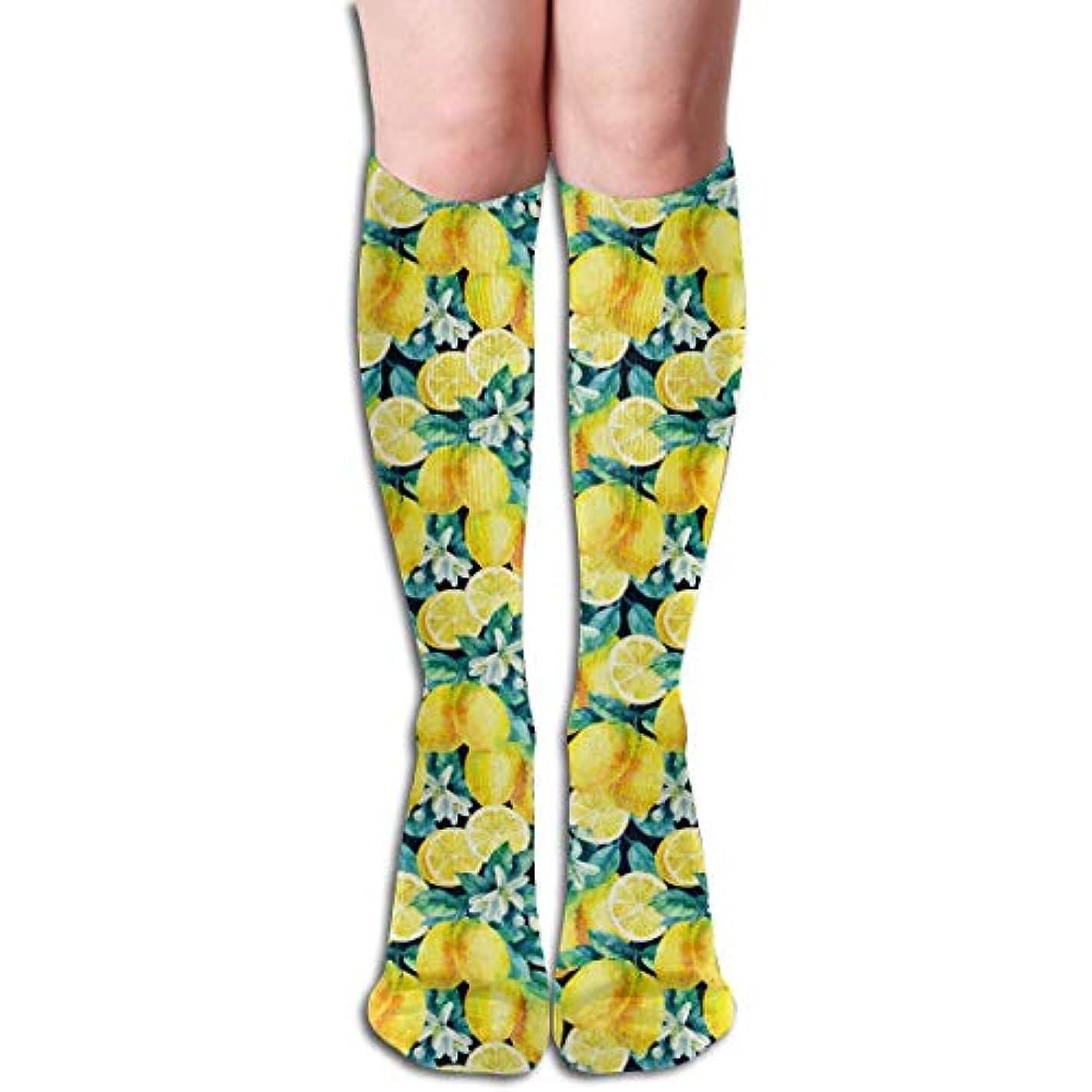 構造的警告する光QRRIYアスレチックソックス水彩レモン果物3 D圧縮ソックス男性のための長い靴下