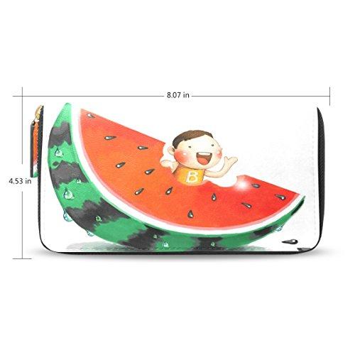 USAKI(ユサキ) レディース メンズ ファスナー 財布,かわいい スイカ 水瓜 M04,お札 小銭 カード入れ 大容量 長財布 入学式 卒業式 誕生日 プレゼント
