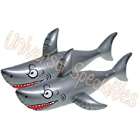 Giant Inflatable Shark Pool Toy - Inflates to 40 Inches! Party Favor 2 Pack [並行輸入品]