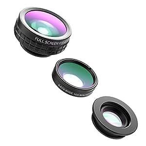 AUKEY スマホ カメラレンズキット 3in1 (180°魚眼、10×マクロ、110°広角レンズ) クリップ式 iPhone、Samsung、Sony、Android スマートフォン、タプレットなどに対応 PL-A1