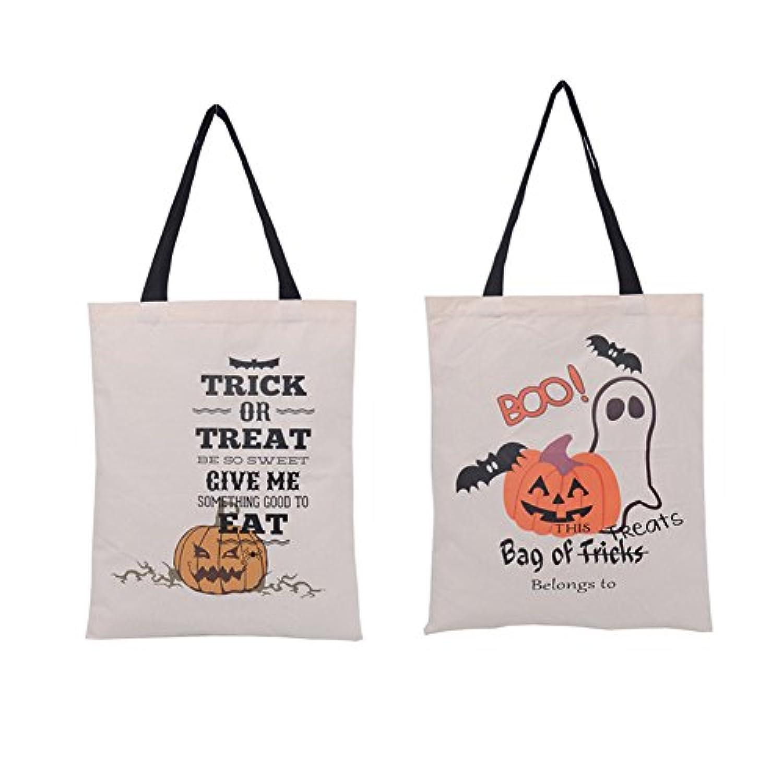 2 Pcsハロウィンスタイルキャンバストートバッグ、loveqmall --自然素材コットンポータブルEcoバッグTrick or Treatキャンディバッグfor Kids Presents ( Big Pumpkin...