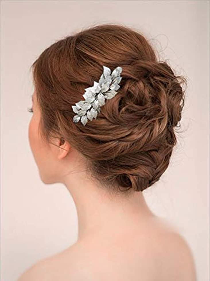 最大限ドキドキディスパッチYean Bride Wedding Hair Comb Leaves Bridal Hair Comb Accessories for Bride and Bridesmaid (Silver) [並行輸入品]