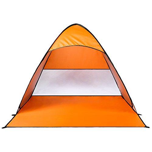 Monobeach 2-3人用サンシェードテント 5秒で簡単に設営と収納のワンタッチビーチテント UVカットSPF+50日除け アウトドア用品 キャリーバッグ付き(オレンジ)