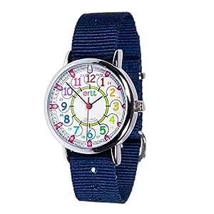 EasyRead時間先生子供の時計、12& 24時間、虹色、ネイビーブルーストラップ