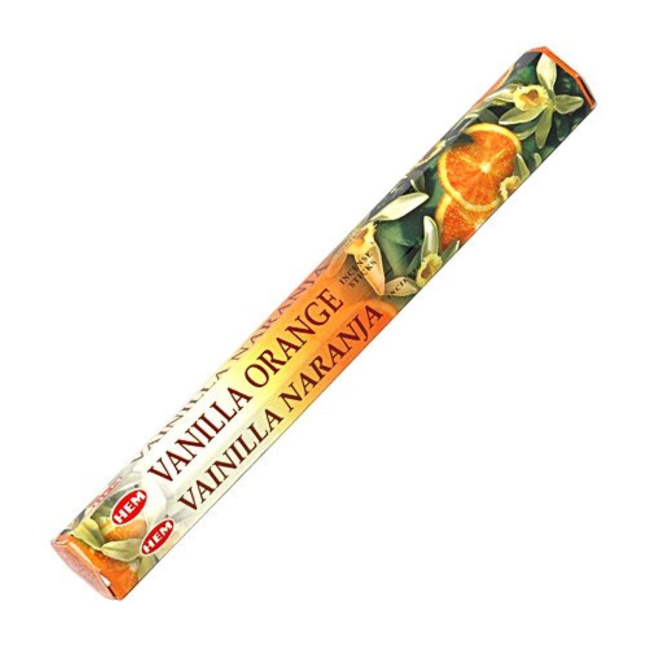 解明する留め金ロック解除【HEM/ヘム】《バニラ?オレンジ》へキサパック/インド/お香/インセンス/スティック/6角(20本入)×1箱