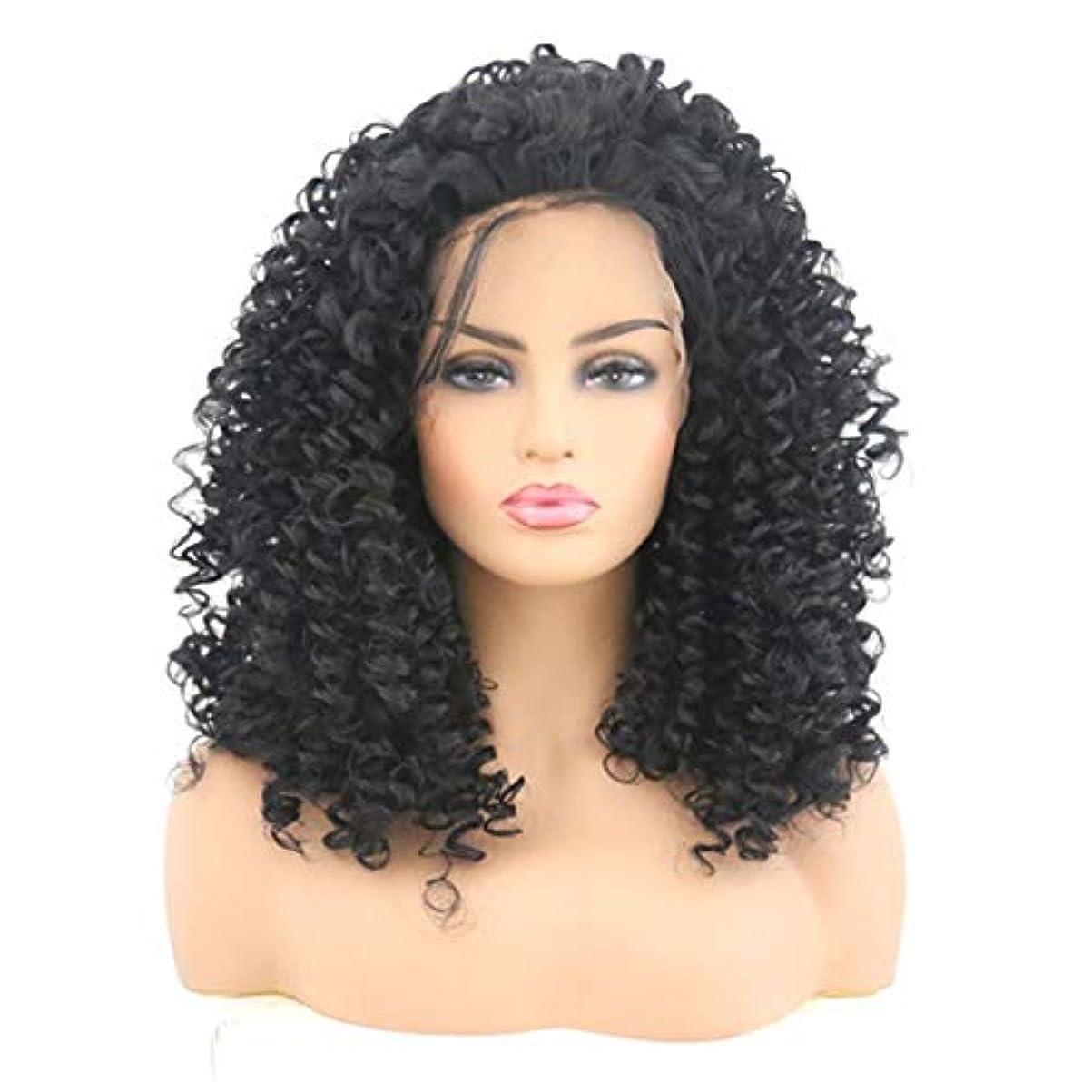 ポーズマーカーリングレットKerwinner 女性のためのフロントレース黒かつら小体積波状の短い巻き毛のかつら