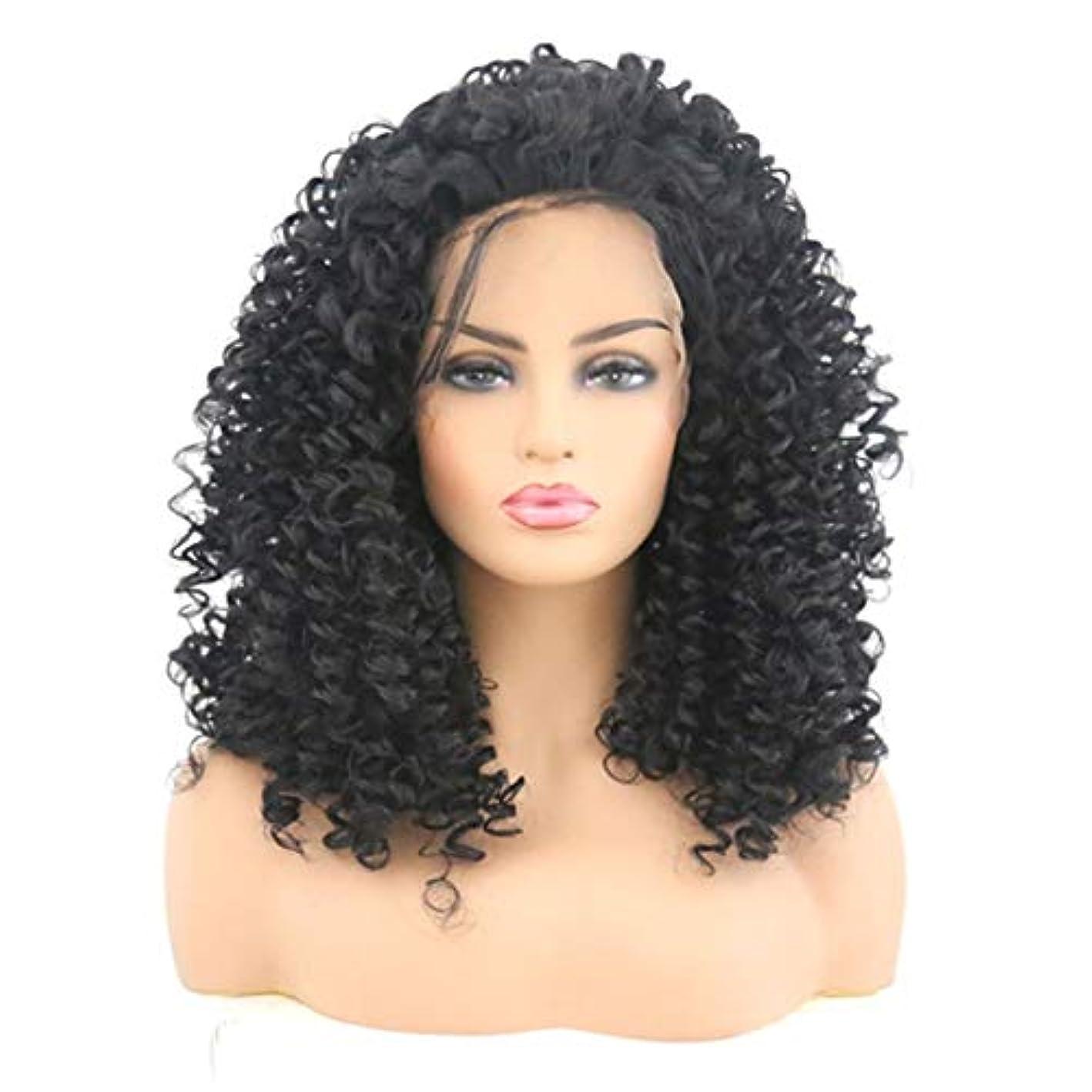 春学期羽Kerwinner 女性のためのフロントレース黒かつら小体積波状の短い巻き毛のかつら