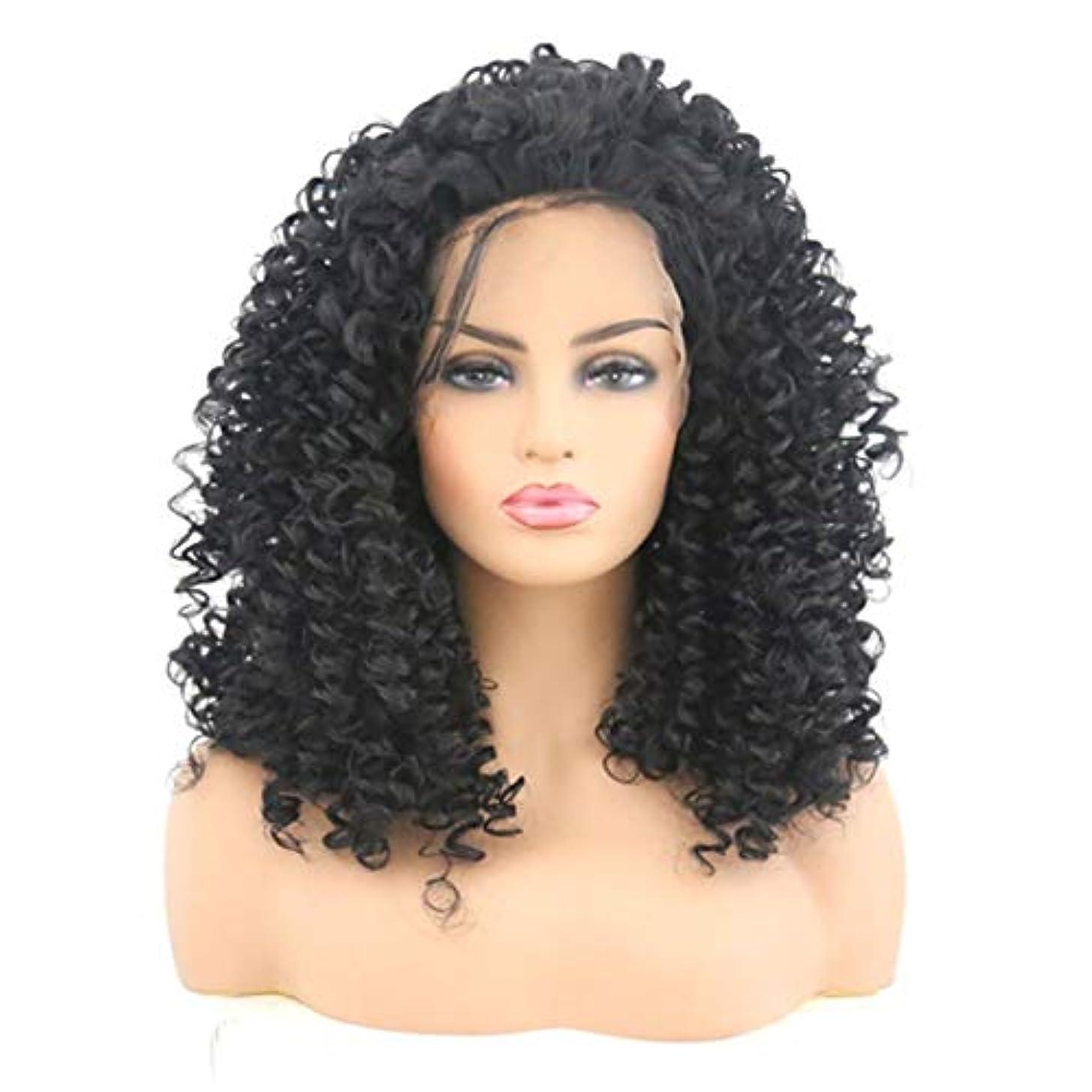 濃度歴史柔らかいKerwinner 女性のためのフロントレース黒かつら小体積波状の短い巻き毛のかつら