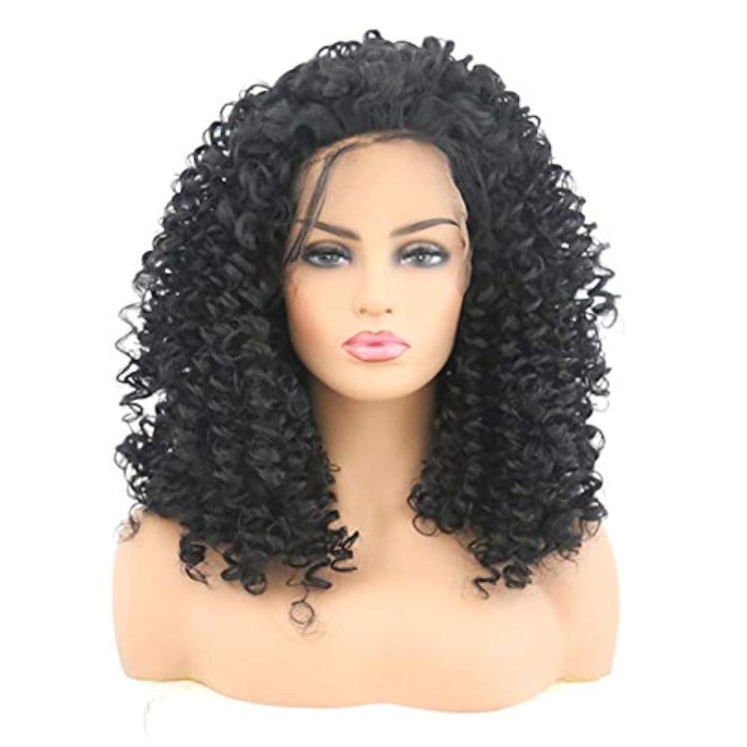 連続的荒野ファイナンスSummerys 女性のためのフロントレース黒かつら小体積波状の短い巻き毛のかつら