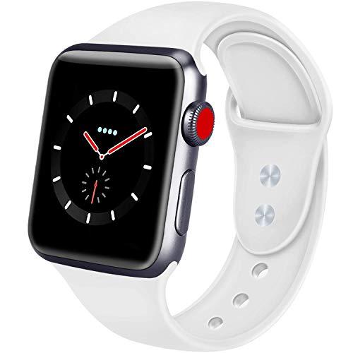 AIGENIU コンパチブル Apple Watch バンド、2個留め具のシリコン柔らかいスポーツ アップルウォッチ バンド、S/M M/Lを選択できますApple Watch Series 4/3/2/1に対応 (38mm/40mm S/M, 白)