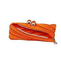 ACHICOO 収納バッグ 大容量 大きな目 ビッグエー ジッパー かわいい 防水 保温 再利用可能 ランチ ポーチ 装飾 シンプル 整理 アクセサリー キャンパス 友達 恋人 ギフト オレンジ 12