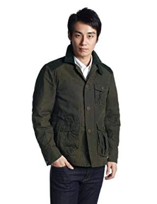 Paraffined Cotton Field Blouson 3225-116-1412: Olive