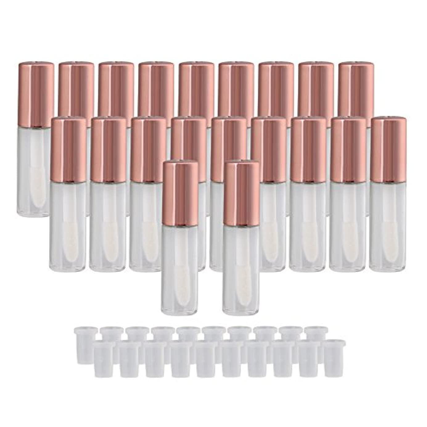 手つかずののヒープ綺麗な20個入 リップグロスチューブ リップ オイル リップ スティック 空 詰め替え 1.2ml 容器 (ローズゴールド)