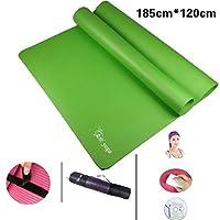 W-z-z 10/15 / 20MMアンチスキッド無味運動ダンシングマットを厚く延長120cmダブルヨガマットを延長 (Color : Green, Size : 10mm)