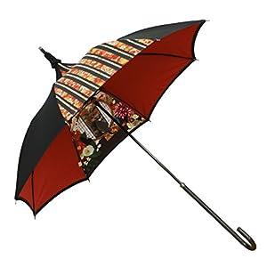 ルミエーブル ハイカラ浪漫 長傘 手開き 日傘/晴雨兼用 ブラック 8本骨 47cm 中棒伸縮傘 UVカット グラスファイバー骨 0102-15011-c04