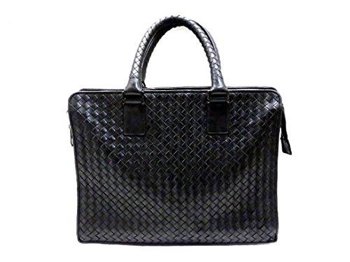 (ボッテガヴェネタ) BOTTEGA VENETA イントレチャート ビジネスバッグ ブリーフケース 書類鞄 レザー ブラック 中古